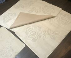 ROMANY GYPSY WASHABLES SET OF TOURER SIZE 67X110CM MATS-RUGS IVORY/CREAM NO SLIP